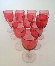 A collection of 10 assorted c.1900 Cranberry glass