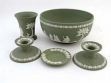 Items of green Wedgwood jasperware , comprising