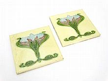 Art Nouveau : 2 Majolica tiles by Henry Richards,