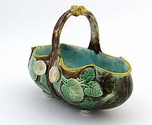 A 19C James Holdcroft majolica basket having