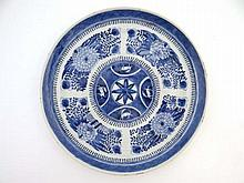 19thC porcelain oriental plate : A blue and white