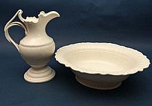 A Leeds creamware jug and bowl, the jug of