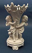 A Parian ware / bisque figural vase in the form of