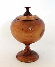 Treen : A sycamore? turned pedestal urn and lid,