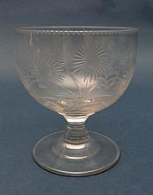 A 19thC large glass rummer with wheel cut