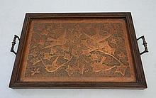 Arts and Crafts : A .1900 embossed copper tray