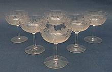 An early 20thC set of 6 glass champagne saucers
