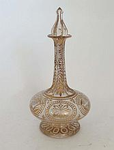 A 18/19thC gilt decorated clear glass decanter and