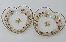 A pair of late 19thC heart shaped glass strawberry