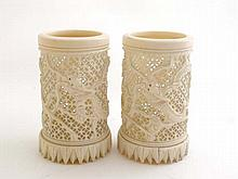 A pair of 19thC Chinese Cantonese carved ivory