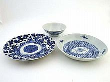 Three Oriental ceramics : A signed 19th C blue and