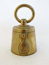 A Russian mid 19thC brass inkwell in the form of a