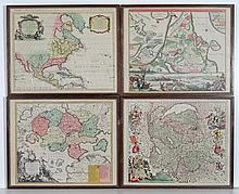 Maps : Four hand coloured prints of comprising