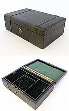A 19thC leather jewellery box with gilded brass