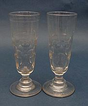 Two 19thC tall pedestal glasses with ground pontil