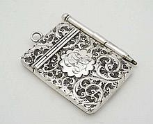 A silver aide de memoir / miniature notebook with