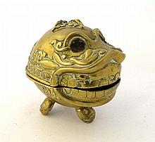 A 19thC Tibetan cased brass ritual dish / incense