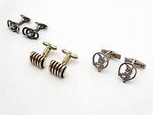 3 various pairs of cufflinks including Sterling