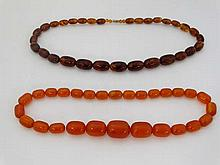 Vintage Beads : 2 faux amber bead necklaces of