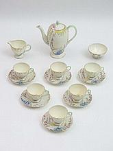 Foley China : a superb rare 6 place tea set with a