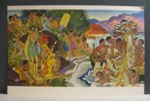 Eugene Savage Hawaiian print and Menu