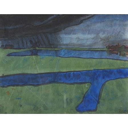 Emil Nolde German, 1867-1956 Marsh Landscape Near Utenwarf (Green and Blue), circa 1920