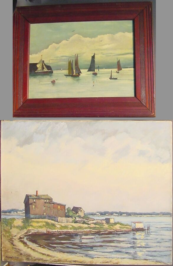 Bernard I. Green American, 1887-1951 HOUSE ON THE SHORE and American School SAILBOATS: TWO