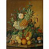 American School 20th Century Still Life with Fruit and Flowers on a Ledge