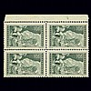 Switzerland 1930 10Fr. Gray Green Block of Four Scott 185, Zumstein 179