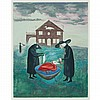 Leonora Carrington BIRD BATH Color lithograph