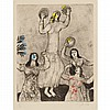 Marc Chagall DANCE OF MIRIAM, SISTER OF MOSES Hand-colored etching