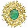 Gold, Emerald and Diamond Sunburst Clip-Brooch