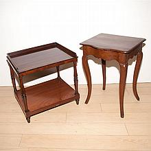 Regency Style Rosewood Diminutive Side Table; Together with a French Provincial Style Oak Diminutive Table