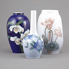 Three Royal Copenhagen Porcelain Vases