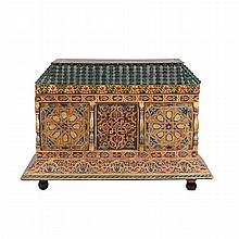 Polychrome Painted and Decorated Architectural Trunk