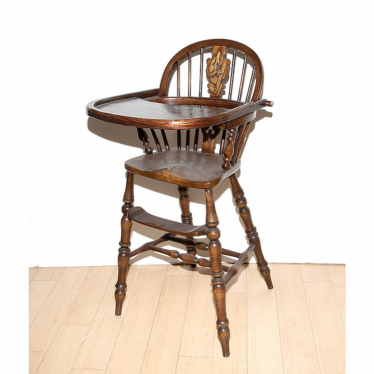 Windsor Style Oak Child's Highchair