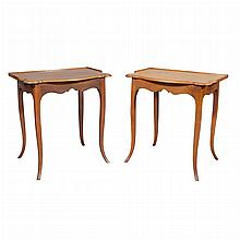 Pair of Provincial Style Fruitwood Side Tables   Height 26 1/2 inches, width 25 1/2 inches, depth 17 3/4 inches.
