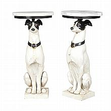 Pair of Marble Top Painted Dog-Form Side Tables