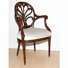 Regency Style Carved Mahogany Armchair