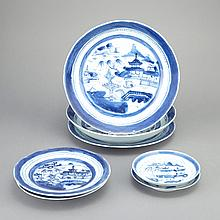 Chinese Export Blue and White Porcelain Plates