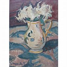 French School 20th Century Still Life with Flowers in a Pitcher; Together with Continental School, 19th Century, Seated Female Nude