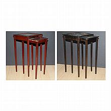 Assembled Pair of Chinoiserie Decorated Nesting Tables