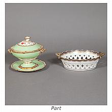 Pair of Chinese Export Porcelain Baskets; Together with a Pair of English Porcelain Sauce Tureens on Stands