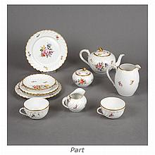 Nymphenburg Gilt and Polychrome Decorated Porcelain Dessert Service
