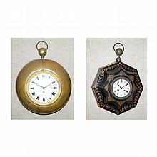 Tole Painted Wall Clock; And a Brass Wall Clock