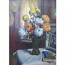 Sandor Vago Hungarian/American, 1887-1946 Still Life of Flowers on a Table