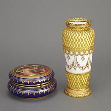 Sevres Style Gilt-Metal Mounted Yellow Ground Porcelain Vase; Together with a Vienna Brass Mounted Porcelain Trinket Box
