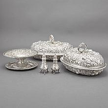 Pair of Jacobi & Jenkins Sterling Silver Covered Entree Dishes; T/W a Sterling Silver Bread Plate, Compote and Salt and Pepper Casters