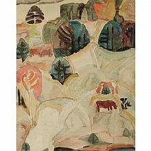 Marguerite Thompson Zorach American, 1887-1968 Hillside Pasture-New Hampshire, 1917