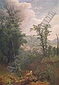 Asher Brown Durand 1796-1886 Forest Interior with Mountains Beyond, circa 1855, Asher Brown Durand, Click for value